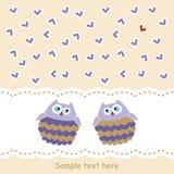 Cartão com as corujas no amor Fotos de Stock