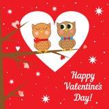 Cartão com as corujas no dia de Valentim feliz do amor. Imagem de Stock Royalty Free