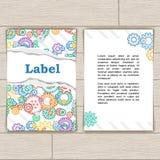 Cartão com as engrenagens coloridas do fundo Imagens de Stock Royalty Free