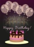 Cartão com balões e bolo ilustração royalty free