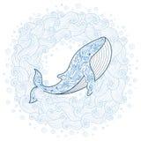 Cartão com a baleia bonito no estilo da garatuja dos desenhos animados ilustração do vetor