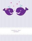 Cartão com baleias bonitos Ilustração Royalty Free