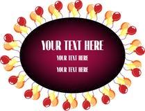Cartão com ballons coloridos no fundo branco Foto de Stock
