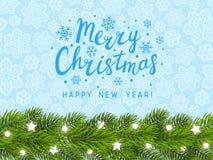 Cartão com beira da árvore de Natal Imagens de Stock Royalty Free