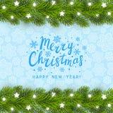 Cartão com beira da árvore de Natal Foto de Stock Royalty Free