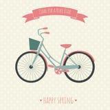 Cartão com bicicleta Ilustração do vetor Fotografia de Stock