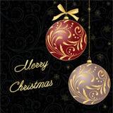 Cartão com bola do Natal ilustração do vetor