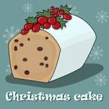 Cartão com bolo do Natal em um fundo azul ilustração stock