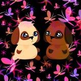 Cartão com cachorrinhos e borboletas ilustração stock