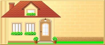 Cartão com casa de campo e espaço para o texto Fotografia de Stock