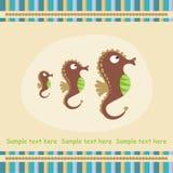 Cartão com cavalo de mar Imagem de Stock