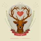 Cartão com cervos Fotos de Stock