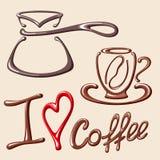 Cartão com cezve, copo de café e título eu amo o café Foto de Stock