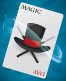 Cartão com chapéu alto e varinhas para dentro para o dia mágico, ilustração do vetor ilustração stock