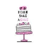 Cartão com citações sobre bolos Foto de Stock