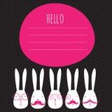 Cartão com coelhos Fotos de Stock Royalty Free