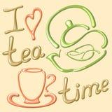 Cartão com copo e bule Eu amo o tempo do chá Fotografia de Stock