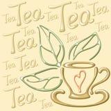 Cartão com copo, folhas e palavras de chá Foto de Stock