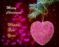 Cartão com coração cor-de-rosa e as palavras Foto de Stock Royalty Free