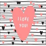Cartão com coração e texto cor-de-rosa eu te amo ilustração stock