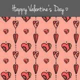 Cartão com corações coloridos Fotos de Stock