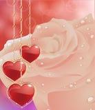 Cartão com corações das flores O dia de mãe do cartão, o dia de Valentim Foto de Stock Royalty Free