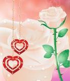Cartão com corações das flores O dia de mãe do cartão, o dia de Valentim Fotos de Stock