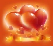 Cartão com corações e fita para o dia do Valentim Foto de Stock