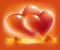 Cartão com corações e fita para o dia do Valentim Imagens de Stock