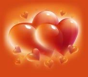 Cartão com corações para o dia do Valentim Imagens de Stock