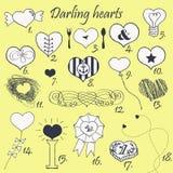 Grupo mão estilizado de corações tirados ilustração stock