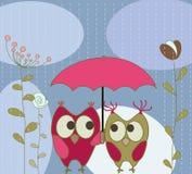 Cartão com corujas ilustração royalty free