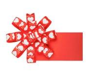 Cartão com curva dos corações da fita Imagens de Stock Royalty Free