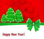 Cartão com curva e árvores de Natal em um fundo vermelho ilustração royalty free