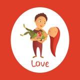 Cartão com dia feliz do ` s do Valentim Foto de Stock