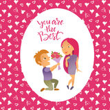 Cartão com dia feliz do ` s do Valentim Foto de Stock Royalty Free