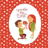Cartão com dia feliz do ` s do Valentim Fotos de Stock Royalty Free