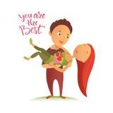 Cartão com dia feliz do ` s do Valentim Fotos de Stock