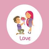 Cartão com dia feliz do ` s do Valentim Imagens de Stock Royalty Free