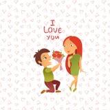 Cartão com dia feliz do ` s do Valentim Imagens de Stock