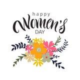 Cartão com dia internacional do ` s das mulheres Fotos de Stock