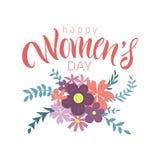 Cartão com dia internacional do ` s das mulheres Foto de Stock