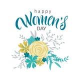 Cartão com dia internacional do ` s das mulheres Imagens de Stock Royalty Free