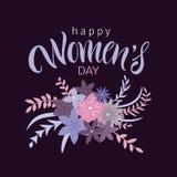 Cartão com dia internacional do ` s das mulheres Fotografia de Stock Royalty Free