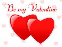 Cartão com dois corações Imagens de Stock Royalty Free