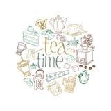 Cartão com Doodles do chá e do café Fotos de Stock Royalty Free