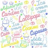 Cartão com elementos doces e seu nome Imagem de Stock