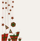 Cartão com esferas do Natal Imagens de Stock