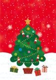Cartão com Feliz Natal Fundo vermelho Brilho e floco de neve do ouro Projeto liso Ilustração do vetor ilustração stock
