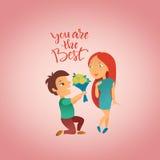 Cartão com feriado do dia do ` s do Valentim Foto de Stock
